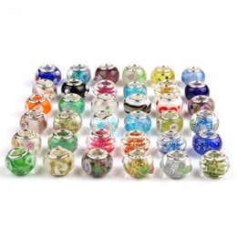 Wholesale Millefiori Murano Glass Bracelets - Hot Sale Silver Flower Murano Glass Beads Big Hole Chamilia Beads Fit Bracelet Bangles Charms Original European DIY Jewelry
