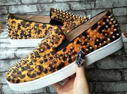 Wholesale Mens Leopard Shoes - New men women designer leopard sneakers 2017 famous brand red bottom designer mens luxury shoes genuine leather,white spiked toe flats