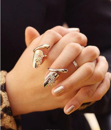Wholesale Dragonfly Flower Nail - 2017 Europe and the United States new jewelry Dragonfly flower flash drill nail ring