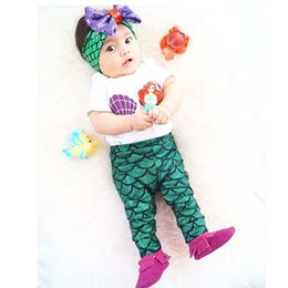 Wholesale t shirts for baby girls - Baby Girls Mermaid Swim Sets 3pcs Shell Baby Clothing Tops T-shirt + Mermaid Leggings Pants + Headband Outfits Set For Babies 0-24M KST01