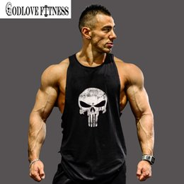 Wholesale Fitness Professional Shirts - Wholesale- Skull Stringer Tank Top Men Professional Bodybuilding Vest Fitness Mens Sleeveless Crossfit Shirt Cotton Singlets Muscle Tops