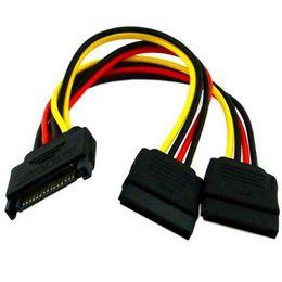 кабель sata для hdd Скидка Wholesale- 1pcs Serial ATA SATA 4 Pin IDE Molex to 2 of 15 Pin HDD Power Adapter Cable New Y Splitter Dual Hard Drive Cable Hot Worldwide