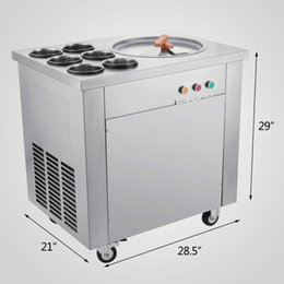 Wholesale Ce Cream Maker - Fried Ice Cream Machine 740W Commercial Fried Ice Cream Maker for Yogurt with 1 Pan Six Buckets Fried Ice Cream Roll Machine for Bar Dessert