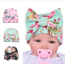 Wholesale Girls Flower Beanie - Knit Baby hat Newborn Beanie Big bow 0-3months flowers print hat Maternity Boutique Accessories Winter warm European Autumn wholesale