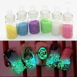 Wholesale Glowing Nightlight - Wholesale- Nail Art Nightlight Decoration Set Mixed 6 Colors Luminous Super Bright Fluorescent Powder Sand Glow For DIY Party Manicure Tool