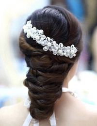 Wholesale Cheap Wedding Decorations Red - Fashion New Crystal Handmade Bridal Headpieces 2017 Cheap White Red Pearl Wedding Hair Decorations Crystal Accessories