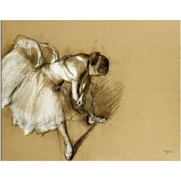 Wholesale Handpainted Shoes - Edgar Degas art Dancer Adjusting Her Shoe,circa Oil painting canvas hand-painted dancers picture for wall decor