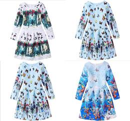 Wholesale Big Girls Evening Dresses - Fashion Big Girls Childrens Dresses Clothing Vintage Flora Printed Princess Dress for Girls Kids Clothes Teenages Ball Gown Evening Dresses