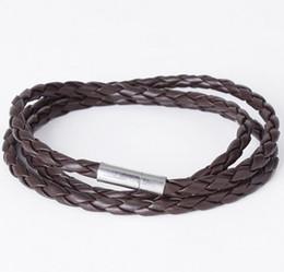 Wholesale United Leather Bracelets - Wholesale Europe and the United States men multi-layer woven twist leather bracelet