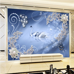 Wholesale Rich Prints - Free Shipping HD Flowers Rich Diamonds Flower Background Wall 3D Stereo Lobby Living Room Mural Custom Wallpaper
