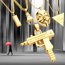 Wholesale Red Metal Mask - Punk Mask Plug Supreme Gold Silver Color Metal Submachine Hatet Pistol Necklace Pendant Hip Hop Jewelry for Cool Men Women