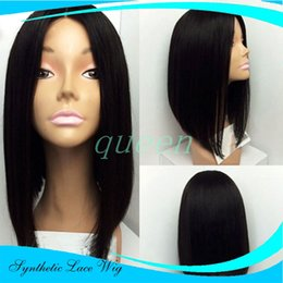 """Wholesale Super Short Wigs - Super Natural And Soft Synthetic Lace Front Wig Bob 12"""" 14"""" 16"""" Natural Black Short Synthetic Lace Front Wig For Black Women"""