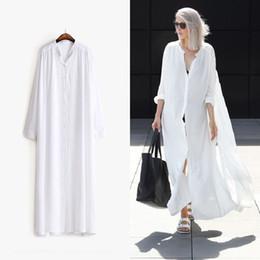 Wholesale Chiffon Multi Way Dress - [WHOLESALE] 2016 Summer Long Sleeves Shirt Dress Women Sides Slit Buttons Multi Way to Wear New Clothing Black White Fashion