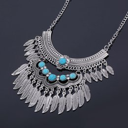 Wholesale Turkish Turquoise Jewelry - New Arrival Collar Necklace Metal Silver Chain Antique Choker Turquoise Turkish Gypsy Bohemian Statement Necklaces Fashion Jewelry for Women
