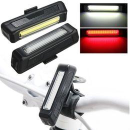 Wholesale Usb Rechargeable Bike Lights - Waterproof Comet USB Rechargeable Bicycle Head Light High Brightness Red LED 100 lumen Front   Rear Bike Safety Light Pack