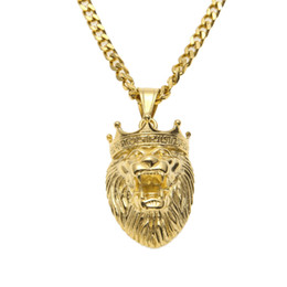 Wholesale Hip Hop Style Jewelry - 2016 Stainless Steel Gold Tone King Wolf Pendant Necklace Hip Hop Rapper Rock Style Trendy Gold Plated Charm Pendant Jewelry
