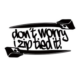 Wholesale Funny Ties - For Don't Worry I Zip Tie Sticker Funny Car Styling Jdm Race Car Truck Window Decal Vinyl Accessories Graphics