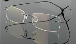 Wholesale Titanium Optical Glasses Frame - (12 pcs lot) New Fashion men women rimless glasses frames memory titanium optical frames many colors