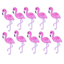Wholesale Flamingo Accessories - 10PCS flamingo embroidery patches for clothing iron fashion patch for clothes applique sewing accessories stickers on cloth iron on patches