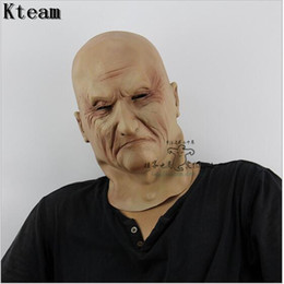 Wholesale Smile Face Mask - Funny Smiling Old Man Latex Mask Halloween Realistic Old People Full Face Rubber Masks Masquerade Cosplay Props Adults Size