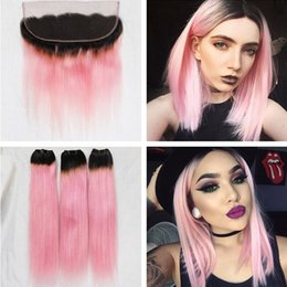 Wholesale 18 Inch Pink Hair Extensions - Ombre Brazilian Hair With 13x4 Ear To Ear Lace Frontal 4Pcs Lot 2 Two Tone 1B Pink Ombre Straight Virgin Human Hair Extensions