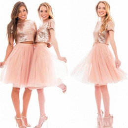 Wholesale Top Bridesmaid Dresses Two Color - 2017 New Rose Gold Short Bridesmaid Dresses Sequined Top Organza Junoir Skirts Jewel Neck Two Pieces Party Gown With Short Sleeves