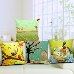Wholesale Birds Cushions - Trees Flowers Cushion Cover Nordic Style Square Thickened Linen Birds Pillow Cover Office Sofa Car Decor Throw Pillow Case
