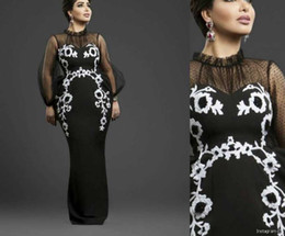 Wholesale Tulle High Neckline Dresses - 2017 Black Prom Dresses Sheath Sheer Neckline White Lace Appliqued with Beaded Floor Length Prom Dresses with Long Sleeves Evening Gowns