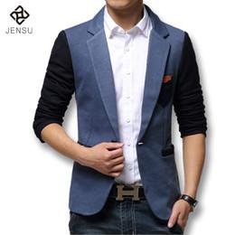 Wholesale Mens Hooded Blazer Jacket - Wholesale- 2016 Casual Mens Suit Hooded One Button Men Blazer Outdoors Slim Fit Jacket Man Long Sleeve 2 Color Suits Plus Size M-XXXL