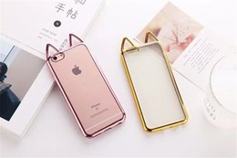 Wholesale Cat Ears Iphone Cases - 3D Ear Cat Cover Electroplating Crystal Clear For IPhone 7 7Plus 6 6G 6S 6Plus Capa Soft TPU Phone Cases Cover