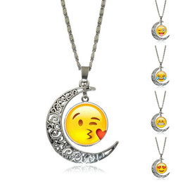 Wholesale Funny Necklaces - High quality Explosive Ideas Funny Time Gemstone Necklace Emoji Pendant WFN195 (with chain) mix order 20 pieces a lot