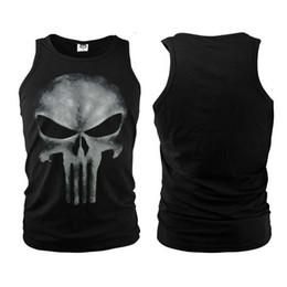 Wholesale Sleeveless Skull Vest - Marvel Comics Anti-hero The Punisher Skull Men Summer Vest Sleeveless T-Shirt GYM Vests Fitness Sport Bodying Building Tank Tops