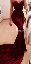 Wholesale Taffeta Mermaid Wine - Unique Designer Burgundy Mermaid Prom Dresses 2017 women Long Train Flattered Fitted Red Wine Velvet Elegant Party Gowns A95