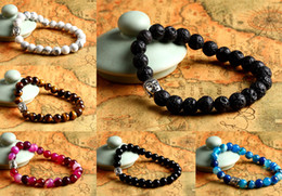 Wholesale Black Onyx 8mm - Mens Hero Bracelet 8mm Natural Lava Rock Stone Turquoise, Black Onyx, Red Dragon Veins Agate, Tiger Eye Semi Precious stone Jewerly