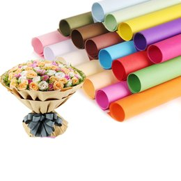Wholesale Wholesale Package Supplies - Pure Color Kraft Paper Flower Wrapping Paper Floral Bouquet DIY Gift Packaging Florist Material Supplies Multi Colors 20 Pcs