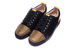 Wholesale Diamond Gold Shoes - Luxury Brand Red Bottom Sneakers Lows Gold Suede Glaze Casual Mens Womens Shoes Flower Diamond Trainers Footwear Flat Shoes 36-46