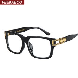 Wholesale Mens Eyeglass Frames Square - Wholesale- Peekaboo New big square mens eyeglasses brand frames high quality black clear luxury eye glasses frames for men women uv lentes