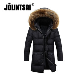 Wholesale Korean Fashion Hooded Parka - Wholesale- Jolintsai Parka Men Winter Jacket Long Duck Down Jacket Men Fashion Korean Hooded Raccoon Fur Collar Down Coats Male Thick Par
