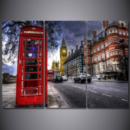 Wholesale Poster Printing London - 3 Pcs Set Framed HD Printed London Street Night Landscape Picture Wall Art Canvas Print Decor Poster Canvas Modern Oil Painting