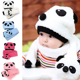 Wholesale Scarf Two Piece Set Pink - Cute Panda Hats Baby Scarf Caps Kids Hat Winter Cap Children Scarves Baby Hat Knitted Warm Cotton Toddler Beanie Scarf Two-piece Set