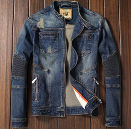 Wholesale Men Motorcycle Brand - Wholesale- NEW Autumn Winter Brand Mens Motorcycle Biker Denim Jackets Stand Collar Zipper Jeans Coat High Quality M-3XL