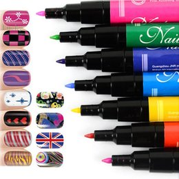Wholesale Easy Pen Nail Art - Wholesale- 12 PCs LOT Nail Art Pen Painting Design Tool Drawing Gel Made Easy Makeup Cosmetic Manicure Decorations Vernis a Ongle