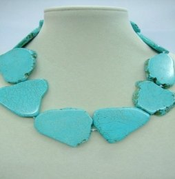 Wholesale Silver Blue Chokers - Woman Jewelry necklace Light blue Natural turquoise baroque slice stone Choker necklace 18inch
