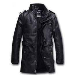 Wholesale Trench Fur Lining - Wholesale- Black Locomotive Mens Leather Trench Coat Long Section Lining Faux Fur Slim Fit Jacket Winter Fleece Warm Jaqueta de couro L-3XL