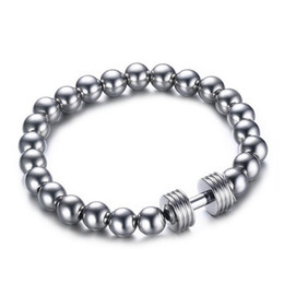 Wholesale Hematite Ring Beads - Hot Sale Men's Power Barbell Jewellry Wholesale 8mm Hematite Beads with Stainless Steel Fitness Dumbbell Charm Bracelets