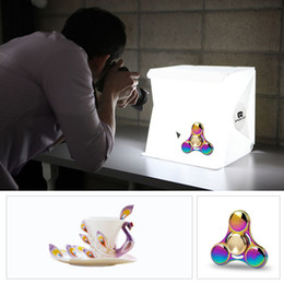 Wholesale Photo Tent Box - Brandnew PU5022 Folding Portable Light Box 2Ps lights Photo Lighting Studio Shooting Tent Box Kit Light-weight Mini Studio With Fiber Bag