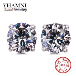 Wholesale Girl Earrings - YHAMNI Original Solid 925 Silver Stud Earrings Set 1 Carat CZ Diamond Earring For Girls Women Engagement Wedding Jewelry EY4
