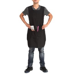Wholesale Wholesale Work Aprons - 91X50cm Pro Salon Barber Hairstylist Cloth Hairdressing Hair Cutting Apron Cape for Barber Hairdressing Black Work Clothes Wrap
