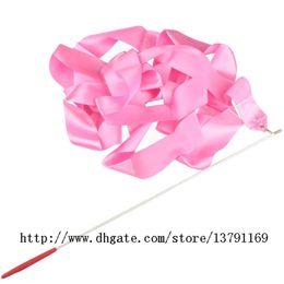 Wholesale Gymnastics Art - Dancing Ribbon Wand Ballet Ribbon Stick Rhythmic Gymnastics Art Fitness Streamer Twirling Rod for Women Girls Pink