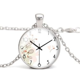 Wholesale vintage clothes accessories - Clock Glass Cabochon Dome Necklace Vintage DIY Charm Handmade Jewelry Birthday Gift Fashion Women Clothes Accessory Wholesale